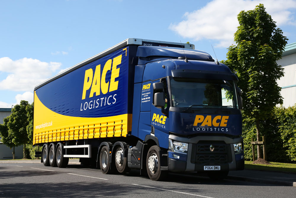 Ariculated vehicle part of the pallet delivery fleet for Pace Logistics Manchester